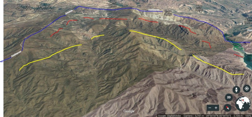 Map of Nakhichevan-Armenia border roughly indicating Azerbaijan's old (yellow) and new (red) lines of defense, and Armenia's line of defense (blue). Azerbaijani forces moved their positions from yellow to red lines in May 2018. Google Maps