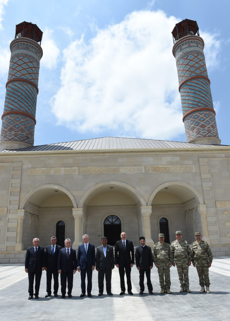 In June 2017, Azerbaijan inaugurated a new mosque building near the Line of Contact that is a replica of Shushi mosque. Image courtesy of president.az