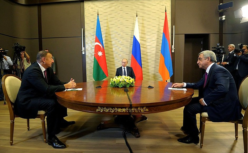 Even before Trump's election, the Russian president took a lead on Caucasus matters, here hosting leaders of Armenia and Azerbaijan in August 2014. Image courtesy of Kremlin.ru