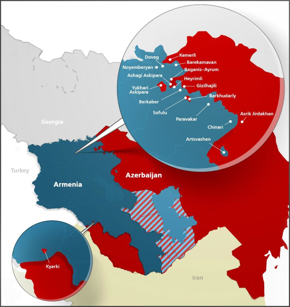 Map of Armenian-Azerbaijani enclaves courtesy of Jam-News.net