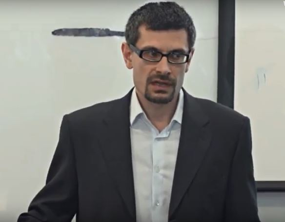 Saparov lecturing at the Program on Armenian Studies in London in May 2016. Via programstud.org.uk