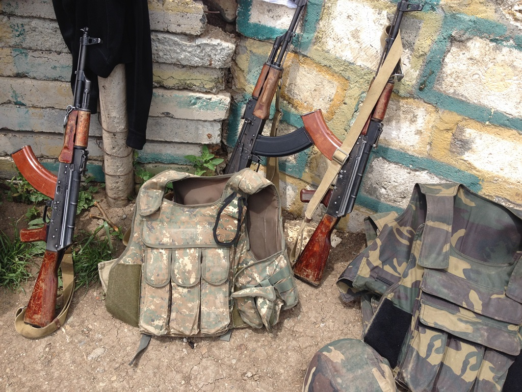 Rifles and body armor at Talish area military post. Image courtesy of Salpi Ghazarian / CivilNet
