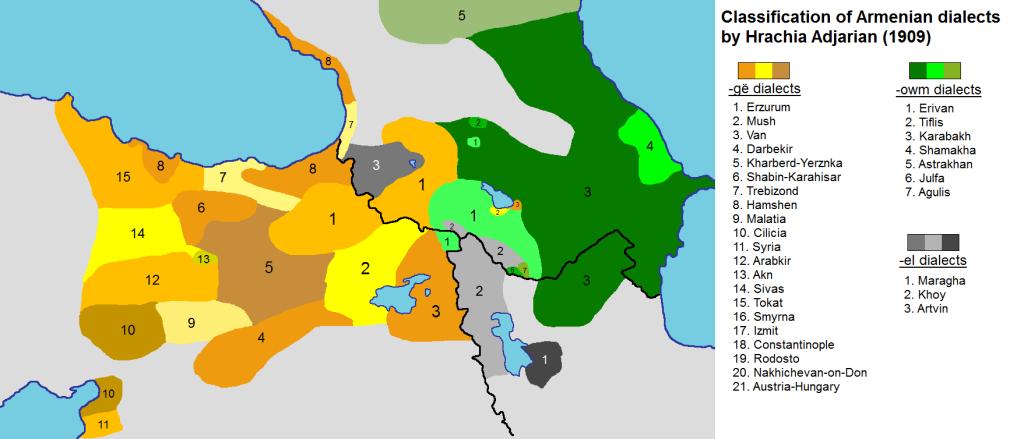 Map based on 1909 Hrachia Adjarian map by Wiki editor Yerevanci. Via Wikimedia.