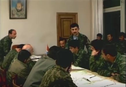At headquarters of Karabakh Defense Army in April 1994. Image grab from Yerkrapah video.