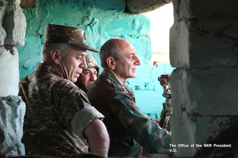 Karabakh leaders visit the Line of Contact on June 8, 2017.