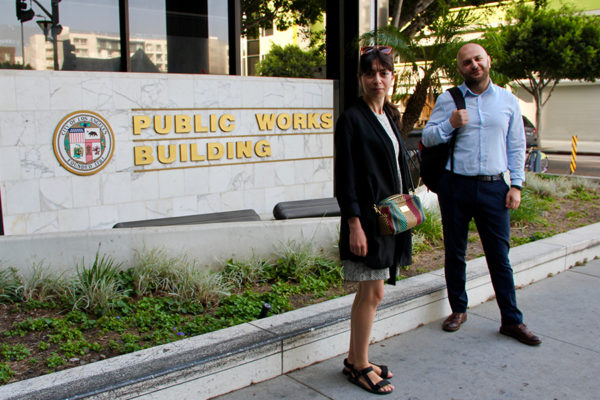 USC Policy Fellows From Armenia In Front of Los Angeles Public Works Building
