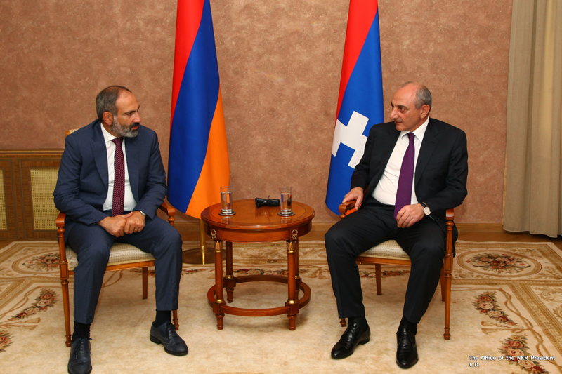 Pashinyan and Sahakyan meet in Yerevan last December. Official photo.
