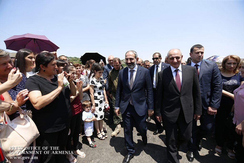 Pashinyan visits the town of Chartar in Karabakh in June 2018. Official photo