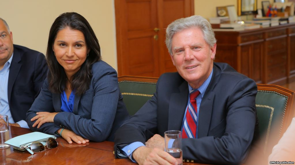 Pallone (right) and congresswoman Tulsi Gabbard (D-Hawaii) in Stepanakert. Photo courtesy RFE/RL.