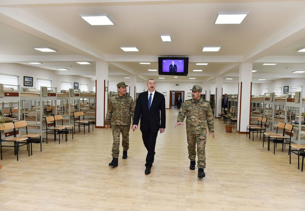Ilham Aliyev visits a military base near Karabakh on Feb. 13, 2019. Official photo