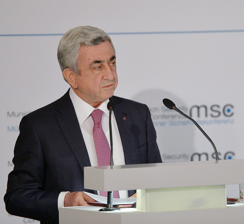 Serzh Sargsyan at the Munich Security Conference. Photo from President.am