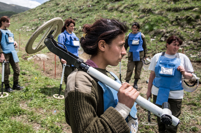 Women de-miners in Karabakh whose work is partly funded by the U.S. Photo by Karl Mancini for HALO Trust.