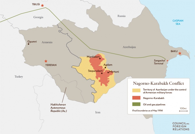 Karabakh conflict map courtesy of the Council on Foreign Relations.