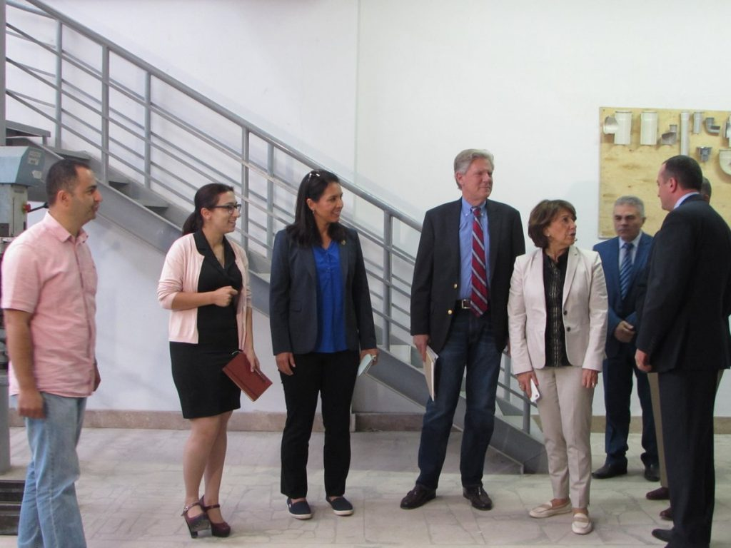 Reps. Gabbard and Pallone visit a vocational school under construction in Shushi. Courtesy image.