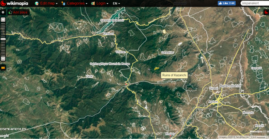 Area where the deadly incident occurred on March 29, marked as ruins of Kazanchi (Ghazanchi) is about 4 kilometers east of main Stepanakert-Mardakert road and some 20 kilometers from Line of Contact. Wikimapia
