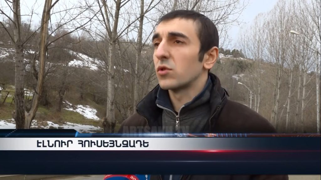 Elnur Huseynzade interviewed after his release on Feb. 2, 2019. Image grab from Artsakh TV.