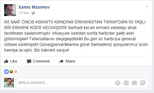 A Facebook post by Xamis Masimov on June 20, 2017, since deleted