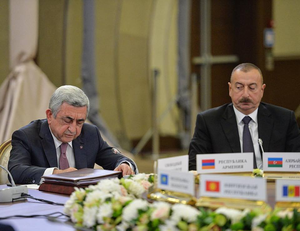 Sargsyan and Aliyev at the Commonwealth of Independent States' summit in Sochi, Russia, Oct. 11. Photo by Davit Hakobyan for President.am.