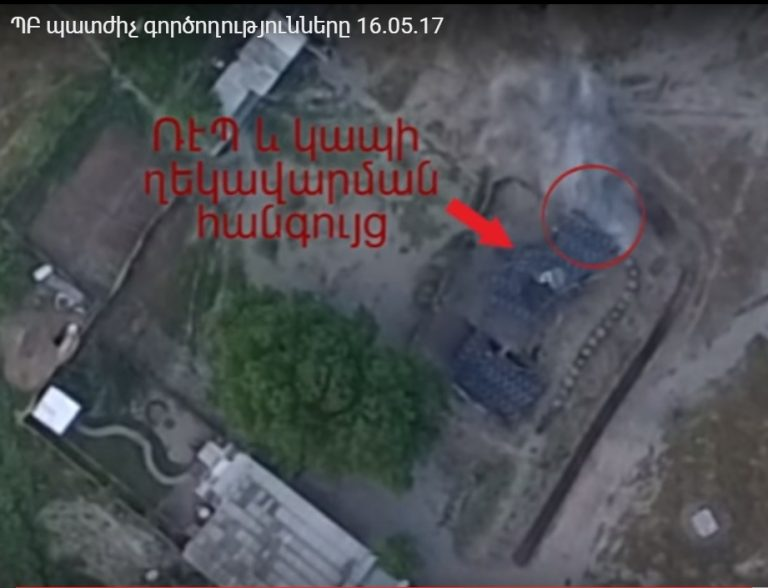 Armenian forces launched retaliatory mortar strikes on Azerbaijani military facilities on May 17. Defense Army video grab.