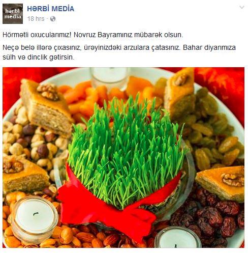 The Armenian Herbi Media congratulates Azerbaijani readers with the Novruz holiday. Facebook screenshot.