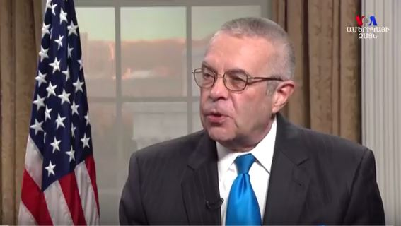 Amb. Hoagland speaking with Voice of America earlier in 2017. VoA video image grab