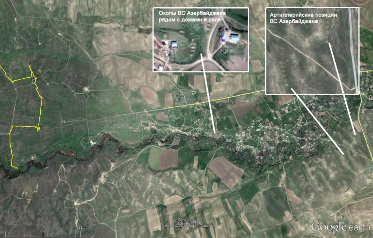Map of Azerbaijani artillery positions near Alxanli, where civilian deaths occurred; the Line of Contact is just to the west (left) of village. Courtesy of Razm.info