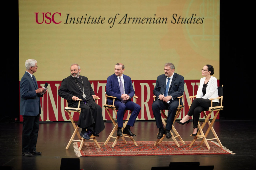 (Left to Right) Professor Dan Mazmanian, Bishop Bagrat Galstanyan, Armen Grigoryan, Dr. Irina Ghaplanyan, Professor Vache Gabrielyan at USC Innovate Armenia