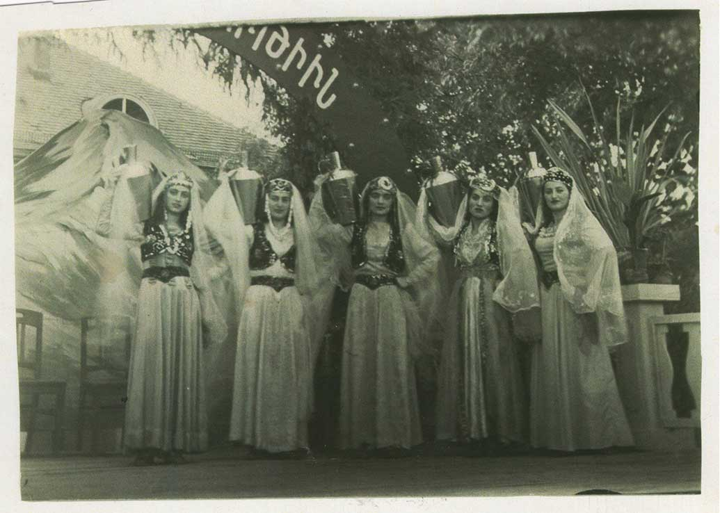 Armenian Dance Troupe at Funkerkaserne, Germany, May 28, 1948. Manik Ajemian on the far right. (From Angela Savoian's collection)
