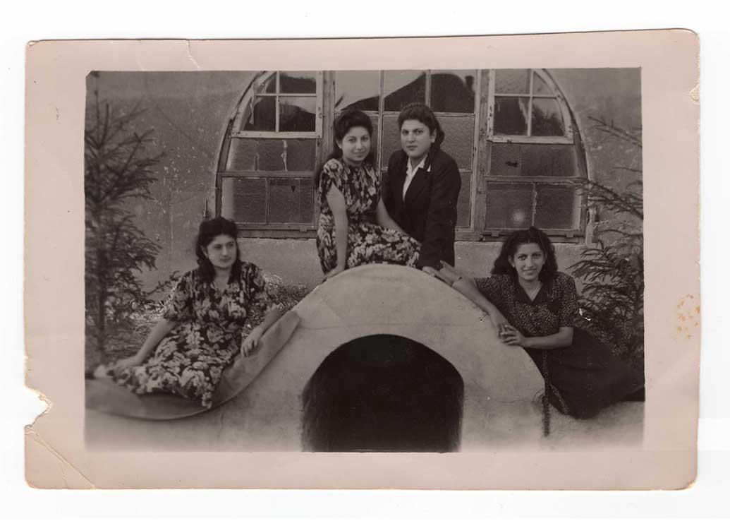 Magdessian sisters, Lucy Zennedjian, and Knarik Kuregian Funkerkaserne, Germany, 1945-49? (From Lucy Zennedjian's collection)